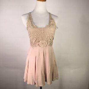 Beige Romper Lace Bodice Crinkle Skirt Medium